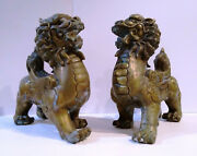 Pair Antique Bronze Foo Dogs 10 Guardian Lions Male And Female  Mg