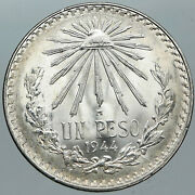 1944 Mexico Eagle Liberty Cap Large Vintage Old Silver Peso Mexican Coin I88775