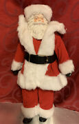 1950and039s Vintage Santa Claus Red Velvet Suit 16andrdquo Pink Face Harold Gale Christmas