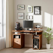 Pc Office Desk Furniture With Storage Cabinet And Two Cable Management Holes