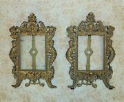 Pair Of Vintage Ornate Picture Photo Frames Gilt Metal 5 1/4 X 4 Opening