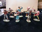 Leyla Made In Germany Antiques Lot X7 Figures Cowboys And Indians Originals