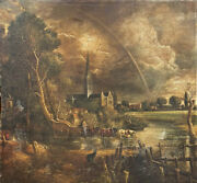 Miguel Canals Studio - Massive Oil Painting After John Constable Salisbury Cath