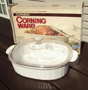 1986 Usa Corning Ware 4 Qt Covered Oval Roaster / Casserole French White F-14