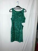 Bebe Green Sequin Dress Body Con Sexy Cut Out Holiday Cocktail M