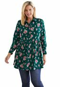 Woman Within Womenand039s Plus Size Printed Maxi Button Down Tunic Blouse Shirt