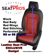 Alea Leather Seat Covers 16-21 Camaro Coupe Convertible Black Red Rs Ss Logos