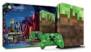 Microsoft Xbox One S Minecraft Limited Edition Bundle 1tb Green And Brown Console