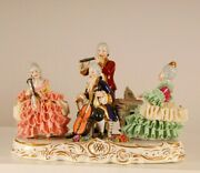 Dresden Porcelain Lace Figurine Royal Ladies Musician Orchestra Volkstedt German