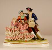 Dresden Porcelain Lace Figurine Royal Family With Child Volkstedt German Vintage
