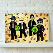 Prints Home Three Old Man Money Decor Canvas Poster Cartoon Cute Painting Wall