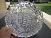 Stunning Antique Large Cut Glass 5 Pound Bowl File Buttons And Blocks Pattern