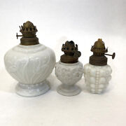 Antique Milk Glass Lot Of 3 Oil Lamps Base Only Flowers Floral And Bubble Design