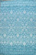 Turquoise Blue Wool/ Silk Arft And Craft Oriental Area Rug Hand-knotted 9and039x12and039
