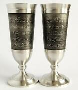 Antique Wine Cups Pewter Collectible Goblets Glasses 2pcs 300 Ml Zinn93 Germany