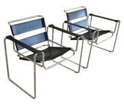 Pair Of Marcel Breuer Style Mid Century Wassily Chairs Black Leather Great Shape