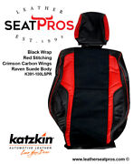 Katzkin Leather Seat Covers Kit 2015-20 Dodge Challenger Black Suede Red Carbon
