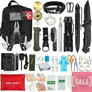 126pcs Emergency First Aid Kit With Molle Pouch For Camping Adventures Black