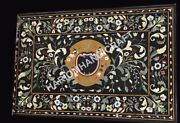 4and039x2and039 Black Marble Table Top Collectible Marquetry Inlay Decor Furniture E940a