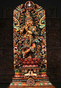 Dancing Krishna With Peacock And Gomatha Wooden Statue 4.5 Feet - Multicolour