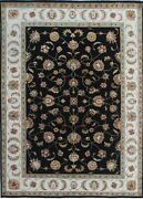 3'x 5'   5'x7'   6'x 9' Rug   Hand Knotted Black Ivory Wool And Silk Area Rug