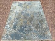 5'6x8' Rug | Modern Luxury Hand Knotted Rug Wool And Viscose Multi Color Area Rug