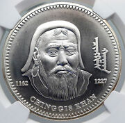 2002 Mongolia Conqueror Great Genghis Kahn Silver 1000 Tugrik Coin Ngc I89275