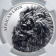 2018 Chad African Artistic Lion Map Antique Silver 5000 Francs Coin Ngc I89266