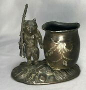Antique Cast Metal Grizzly Bear With Gun Hunting Toothpick Holder