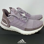 Adidas Ultraboost 19 Womenand039s 8.5 Purple Lavender Taupe White Running Shoes New