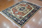 8' X 10' Rug | Hand Knotted Serape Red Blue Wool Area Rug