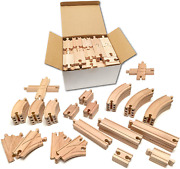Tiny Conductors 52 Piece Wooden Train Track Set - 100 Real Wood, Compatible Wit