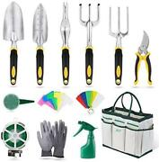 Int Garden Tools Set, 32 Pieces Gardening Hand Tool Kit, Durable Storage Tote