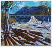 Vintage 1971 Oil On Canvas Painting After Tom Thomson 1877-1917 Group Of Seven