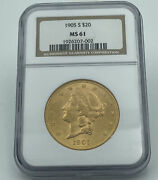 1905-s Ngc Ms61 20 Gold Liberty Double Eagle Great Luster