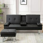 Modern Faux Leather Futon Sofa Bed Fold Up And Down Recliner W/ Armrest Cup Holder