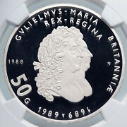 1988 Netherlands Queen Beatrix William And Mary Proof Silver 50 G Coin Ngc I89321