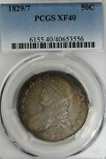 1829/7 .50 Pcgs Xf 40 1800and039s Capped Bust Half Dollar Miss Liberty Bust