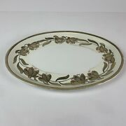 Vintage Russian Small Platter With Gold Flowers / Red Accents Circa 1900-1909