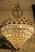 Antique Vintage French Basket Style Crystal Chandelier Luster Light 1960and039s.16 In