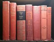 Lot Of 7 - Vintage Books Decorative Red Book Set Rare Titles Library Book Stack