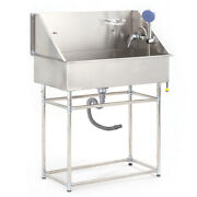 Pro Stainless Steel 34 Medium Pet Grooming Bath Tub Dog Cat W/faucet Sprayer