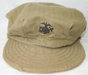 Wwii Usmc P44 Hbt Fatigue Cap Hat Stamped Ega