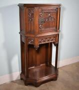 French Antique Gothic Revival Cabinet/console/sideboard Highly Carved Walnut