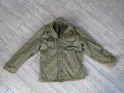 Vintage 1940-50s Deck Jacket Usn Green Stenciled Thrashed Distresed M Army Wwii