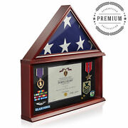 Shadow Box Flag Display Case Certificate Holder 5and039 X 9and039 Funeral Memorial Flag