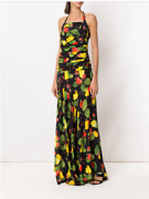 Isolda Black Cashew All-over Print Silk Square Neck Ruched Maxi Dress 6us 10uk S