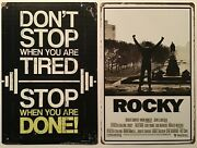 8x12 Tin Signs 2pc Set Rocky Movie Boxing Boxer Fitness Work Out Weight Lifting