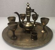 Persian Hand Etched Bronze Sherry Decanter And Glasses Cups. Vintage/antique