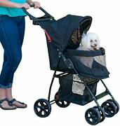 Pet Stroller For Cats/dogs Easy Fold With Removable Liner Storage Basket